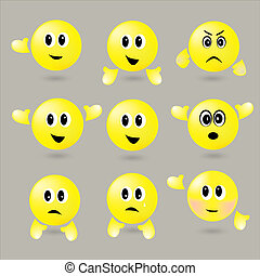 Yellow set surround smileys with different emotions - set...