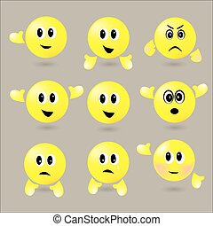 Vector set of surround smileys with different emotions