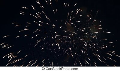Night sky in fireworks flashes