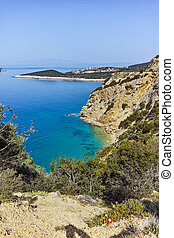 blue waters in Thassos island - Amazing panorama with blue...