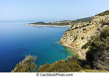 blue waters in Thassos island - Seascape with blue waters in...