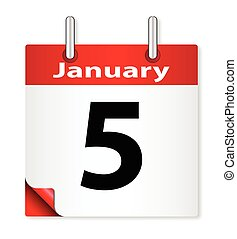 Date January 5th - A calender date offering the 5th January