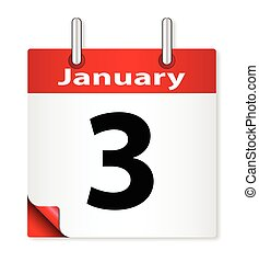 Date January 3rd - A calender date offering the 3rd January