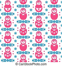 Russian doll Matryoshka pattern - Russian dolls retro...