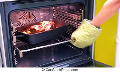 meat baked in oven
