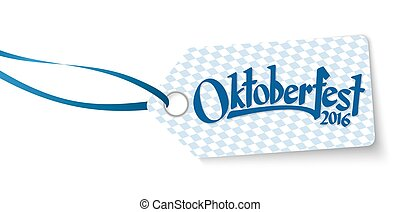 hangtag with text Oktoberfest 2016 - hangtag with blue white...