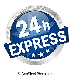 Button 24h Express - colored button with banner and text 24h...