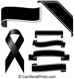 black mourning ribbon and banners - collection of black...