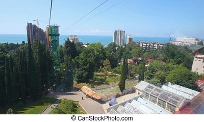 video from moving funicular above city, sochi, russia
