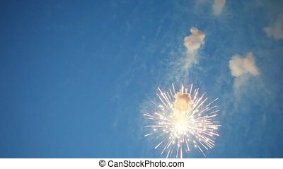 Four flashes of firework in evening sky