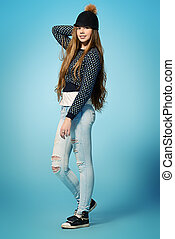 youth fashion - Modern teenager girl in spring clothes...