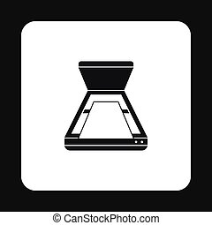Open scanner icon in simple style on a white background