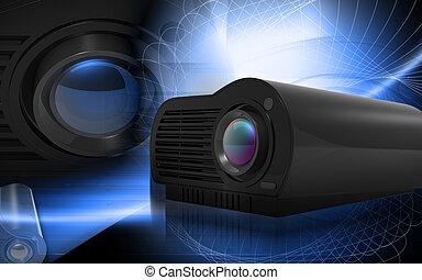 Multimedia Projector - Digital illustration of Multimedia...