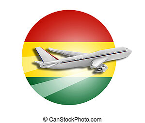 Plane and Bolivia flag. - Plane on the background flag of...