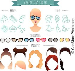 Avatar constructor. 7 hairstyles, 6 sunglasses, 12 beauty icons