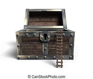Old treasure chest open with wooden ladder, 3D rendering