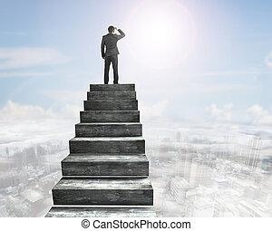 concreto, cima, scale, guardando fisso, uomo affari