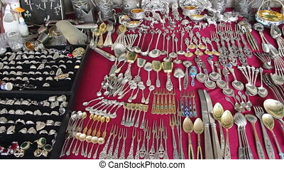 Antique Tableware, Vintage Silver, Iron and Gold Tableware -...