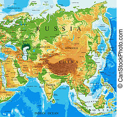 Physical map of Asia - Highly detailed physical map of Asia...