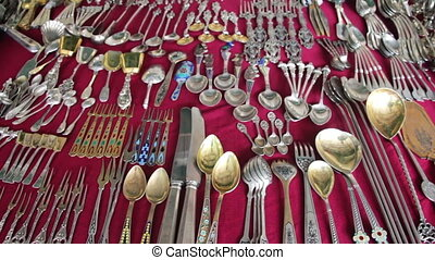 Antique Tableware, Vintage Silver, Iron and Gold Tableware