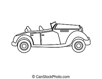 vintage convertible car icon - flat design vintage...