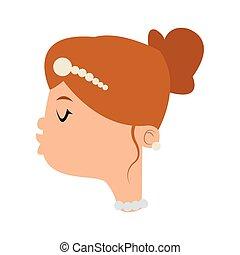happy bride kiss icon