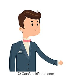 happy groom icon - flat design happy groom icon vector...