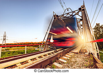 Highspeed train moves fast. - Highspeed train moves fast on...