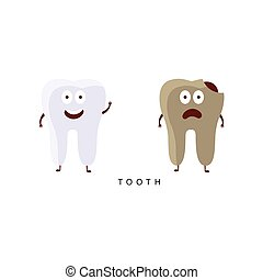 Healthy vs Unhealthy Tooth Infographic Illustration
