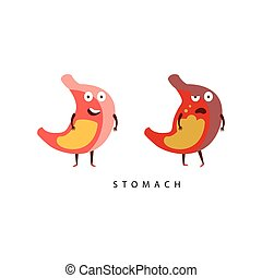 Healthy vs Unhealthy Stomach Infographic Illustration