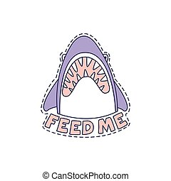 Feed Me Shark Bright Hipster Sticker