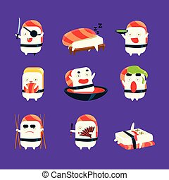 Humanized Sushi Character Japan Themed Activities Set -...
