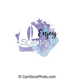 Enjoy Summer Message Watercolor Stylized Label