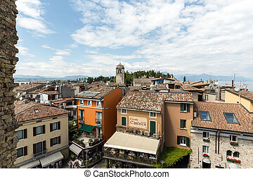 View of Piazza Catello from the Scaliger Castle in Sirmione,...