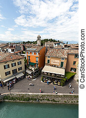 View of Piazza Catello  from the Scaliger Castle in Sirmione, Lake Garda, Italy