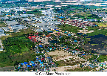 Industrial estate land development and residential area