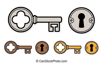 Vintage style cartoon key with lock and round escutcheon in...