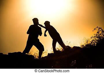 Silhouette taekwondo