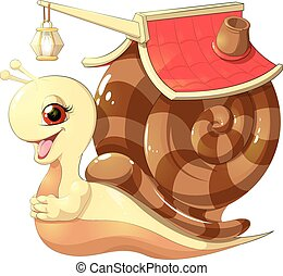 snail with mobil home - beautiful cute snail with a house on...