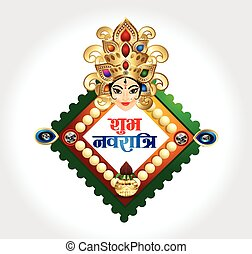 happy navratri celebration background wtih goddess durga...