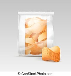 Plastic Bag for Package Design with Potato Chips - Vector...