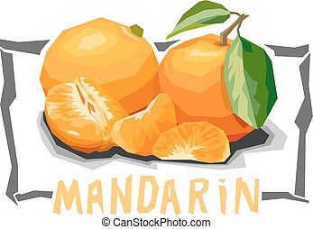 Illustration of fruit tangerines. - Vector simple...