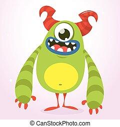 Happy green monster. Vector