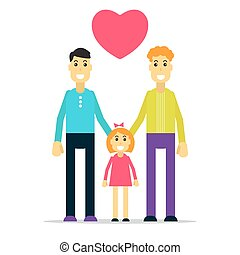 happy gay family with kid - Happy gay family with kid. Flat...