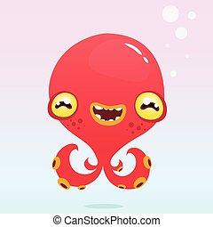 Happy cartoon octopus. Vector