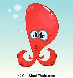 Happy vector cartoon octopus