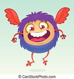 Happy cartoon flying monster vector