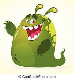 Cartoon green blob monster. Vector