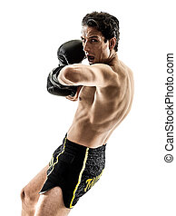 Muay Thai kickboxing kickboxer boxing man isolated - one...
