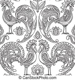 Vector seamless pattern with roosters and flowers. Beautiful...